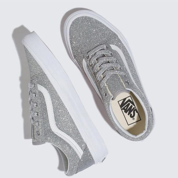 ac0cac7335fdef Van s Old Skool Lurex Glitter Silver Sneakers